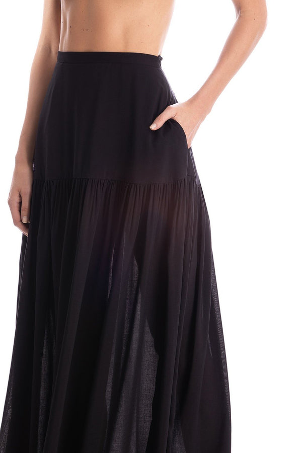 This long skirt is cut from viscose in a breezy silhouette tha moves gracefully when you walk. Style it with matching bodysuit and sandals for drinks while on vacation.