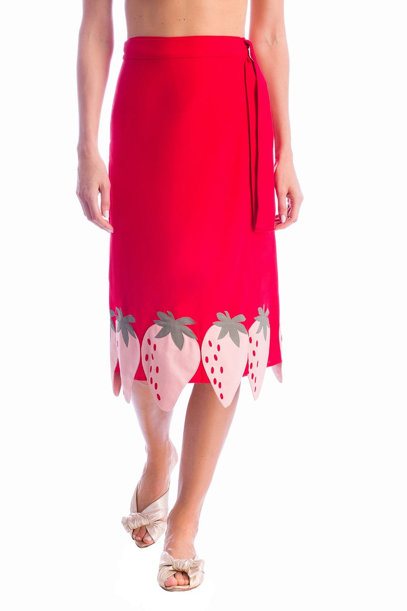 Solid Midi Skirt With Strawberry Detail