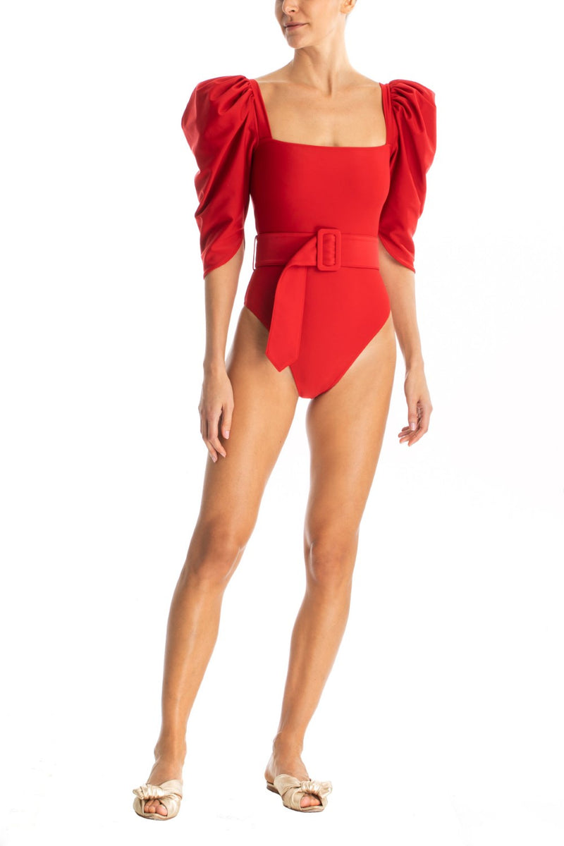 This bodysuit is shaped with oversized sleeves, square neckline and self-tie belt