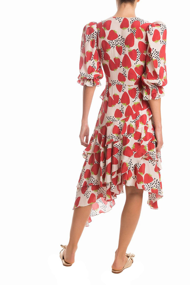This midi dress is featured  with a strawberry print and shaped with an asymmetric skirt that moves gracefully when you walk