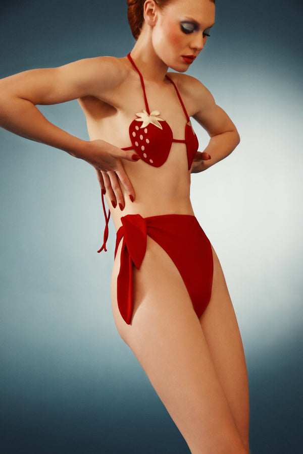 Strawberry High-Leg Bikini With Knot