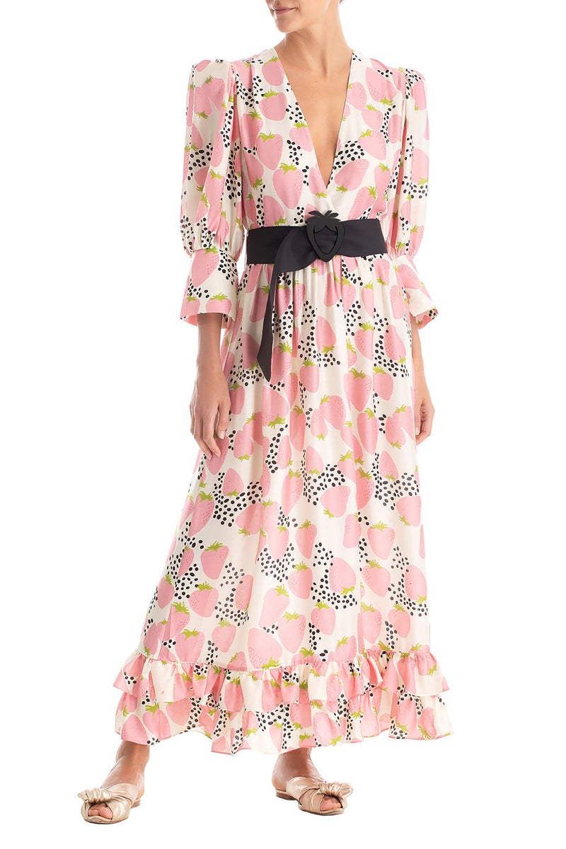 This romantic and vintage style dress features elbow-length baloon sleeves and maxi-length skirt