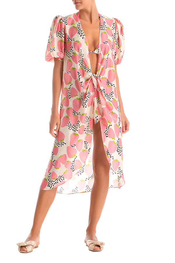 Printed cover up with our playful and irreverent Strawberry print. It's made of lightweight fabric and shaped with puuf sleeves