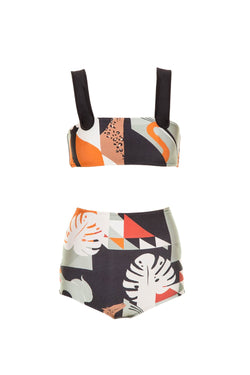 Inspired by its Brazilian heritage, this bikini features a blue, brown and rose tropical print
