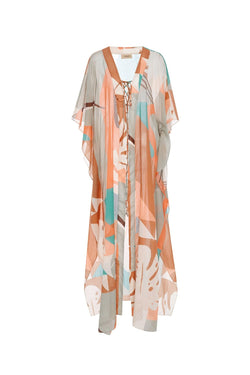 This kaftan is made from sheer chiffon silk with a vintage touch print inspired by the designers Brazilians roots