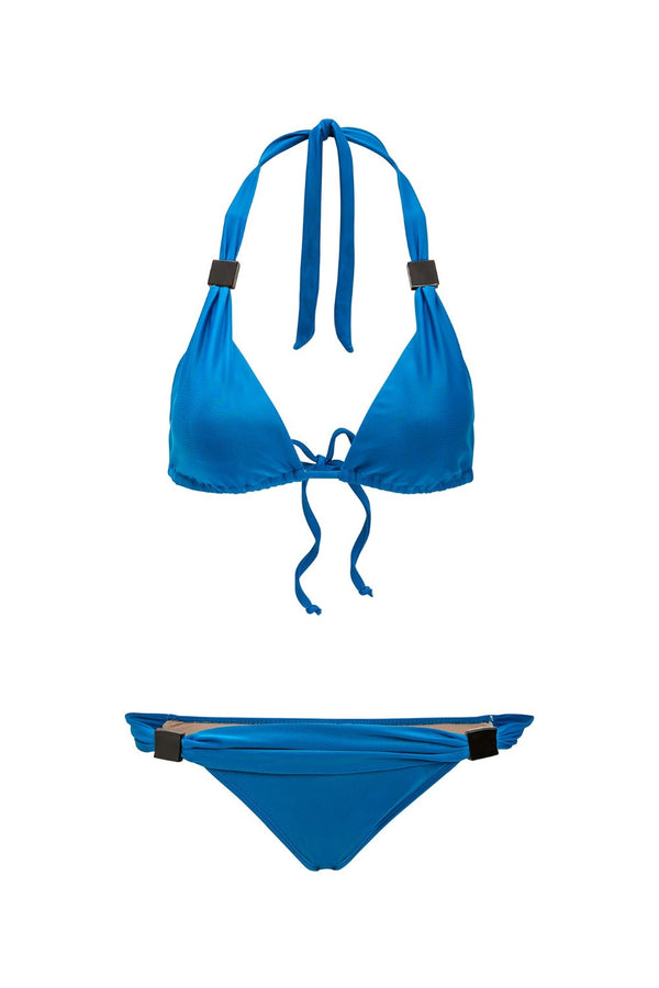 This bikini with classic triangular top has removable padding and acrylic buckle details, also present in the bottom