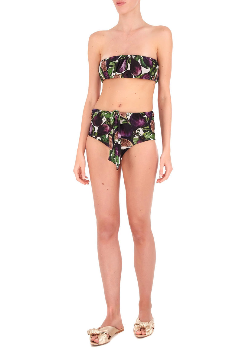 Fig Strapless Hot Pants Bikini with Knot Detail