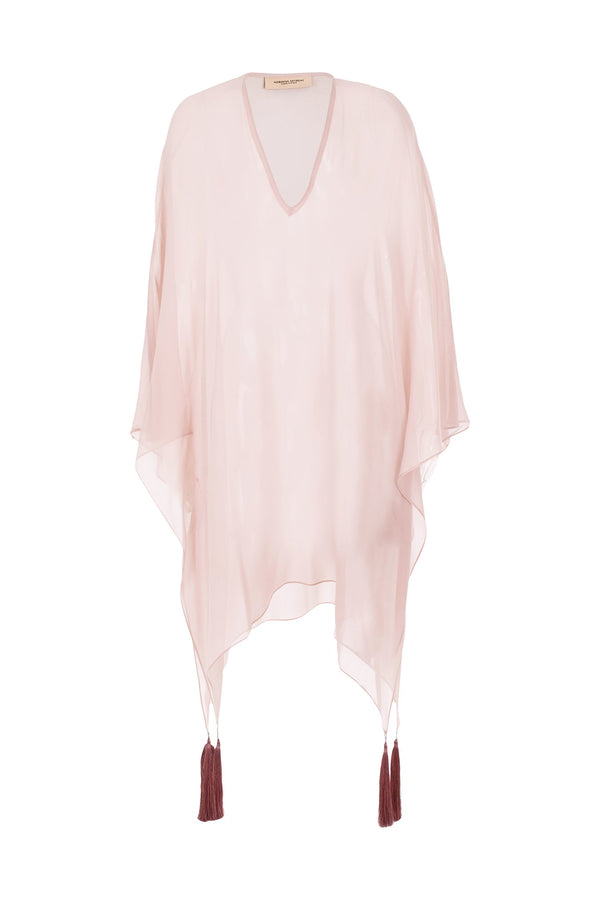Fig Solid Short Kaftan with Tassels