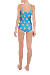 Conchiglie Ruched Swimsuit with Straps