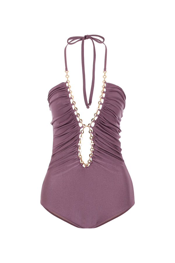 Chain Detail Solid Swimsuit