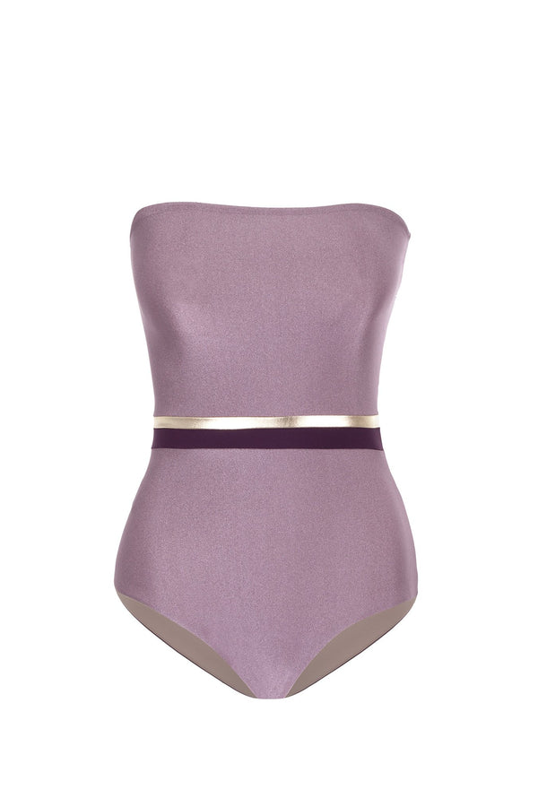 Fig Tricolor Strapless Swimsuit