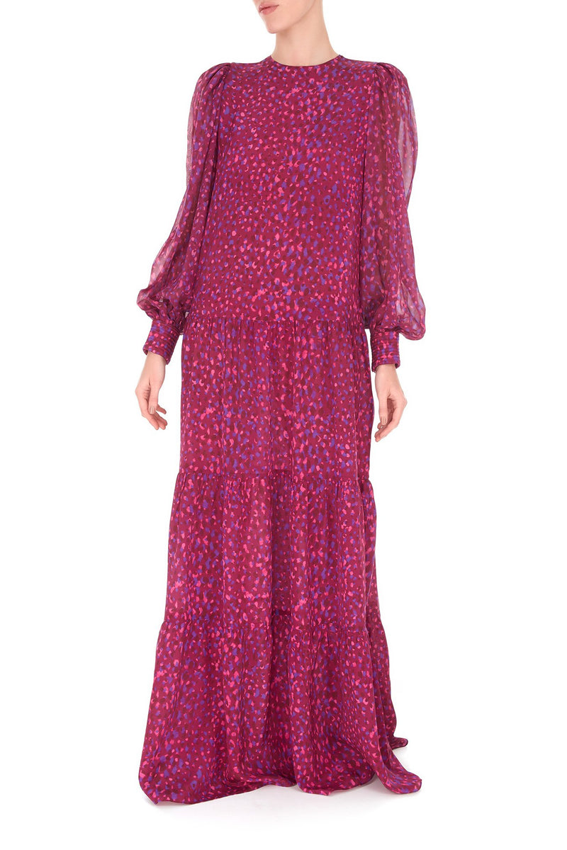 Pomegranate Long Dress with Voluminous Sleeves