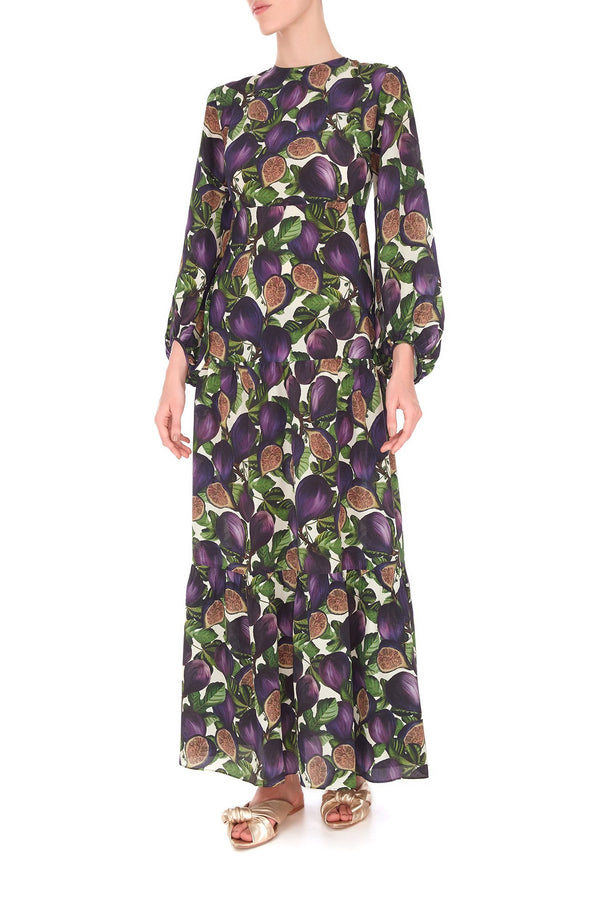 Fig Long Dress with Voluminous Sleeves