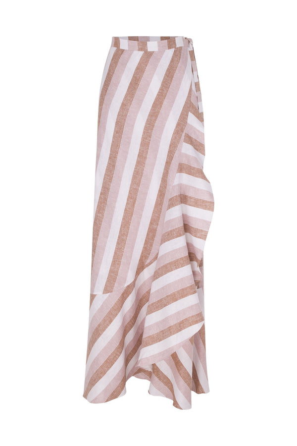 Porto Striped Pareo Skirt with Ruffles