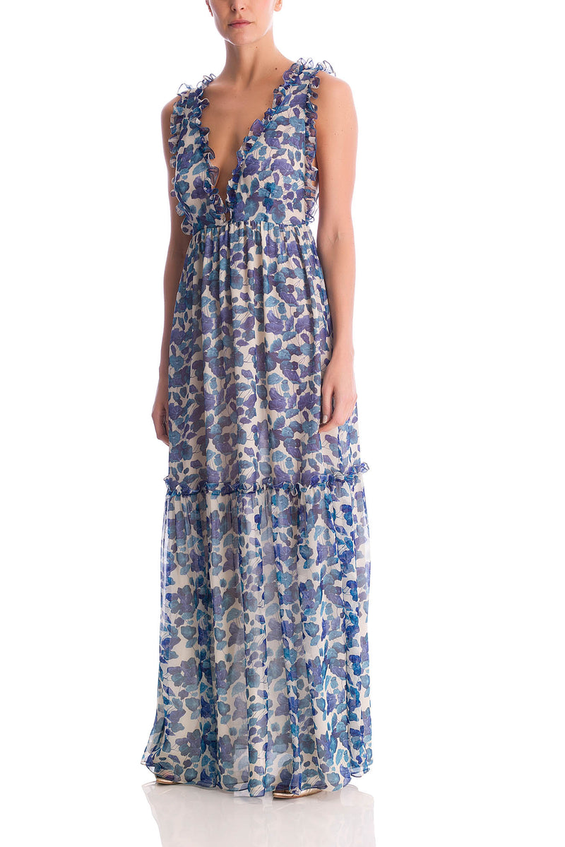 Turquoise Flower V-Neck Long Dress