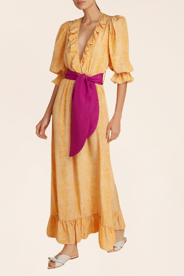 Tortoise Ruffled Long Dress With Sash