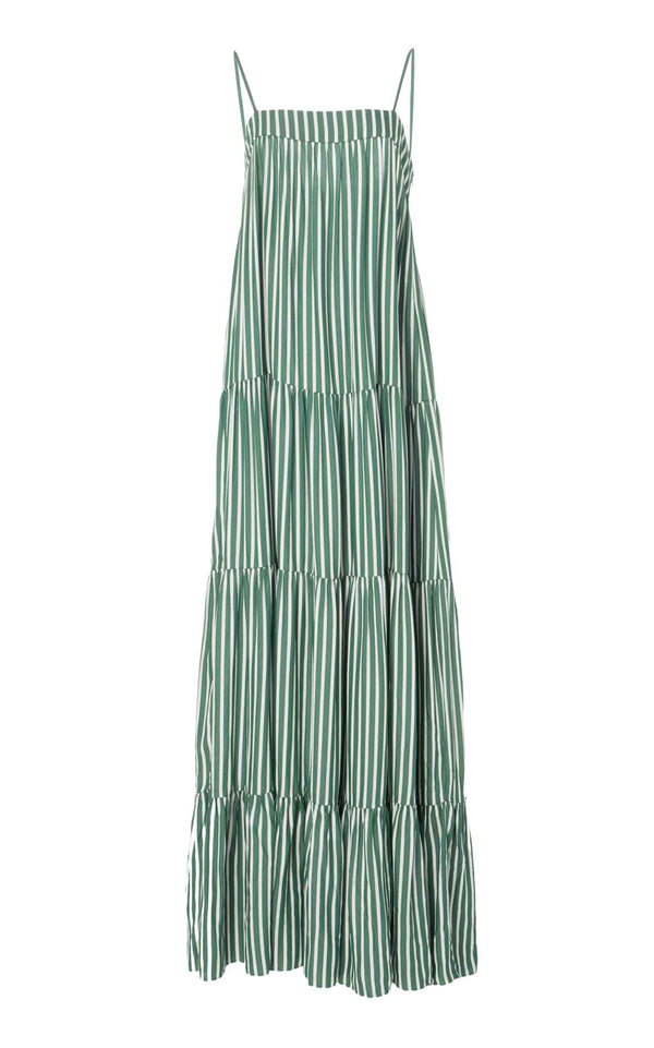 Striped Midi Dress with Straps