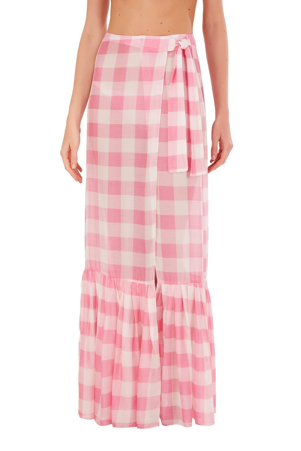 This feminine pareo skirt is crafted with a high-rise, wrap-around waist and printed with 60´s inspired print, the vichy