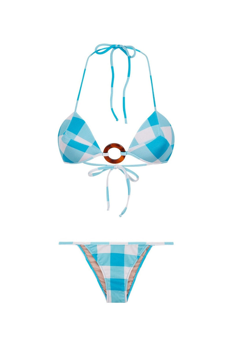 This retro-inspired bikini set s made from gingham stretch fabric with a self-tie structured top with a resin buckle ring and low-rise briefs