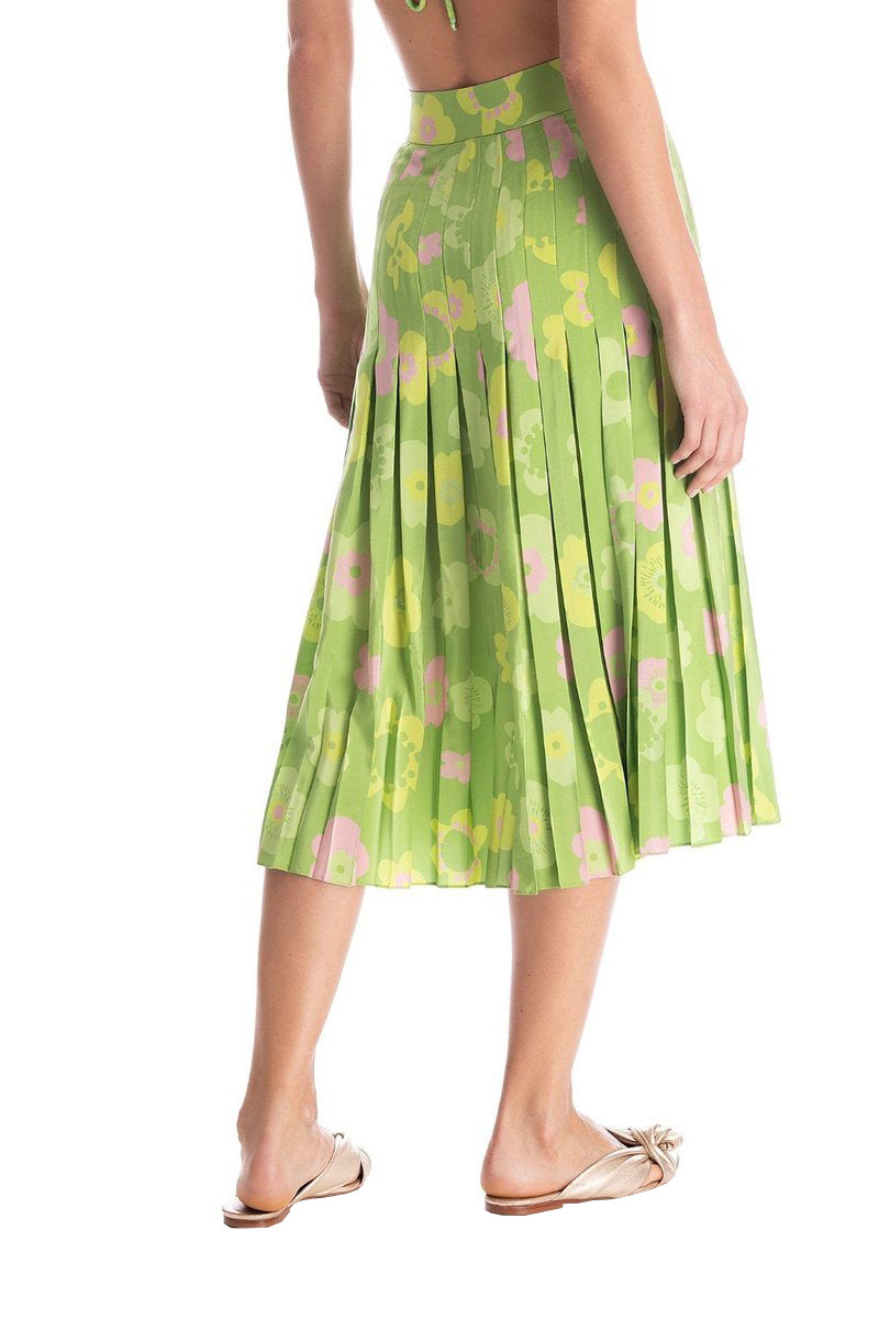Vintage Flower Pleated Midi Silk Skirt