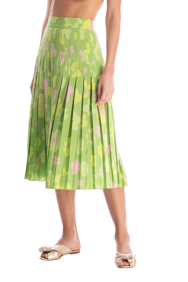 Vintage Flower Pleated Midi Skirt