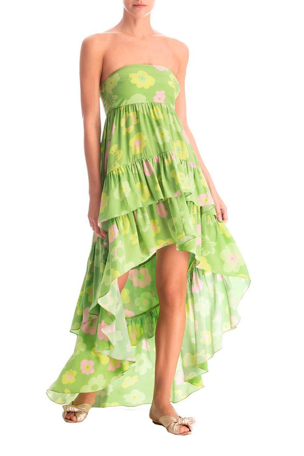 Vintage Flower Ruffled Strapless Long Dress
