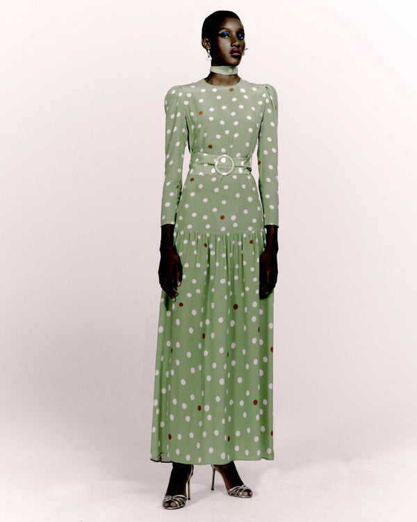 Vintage Pois Long Dress