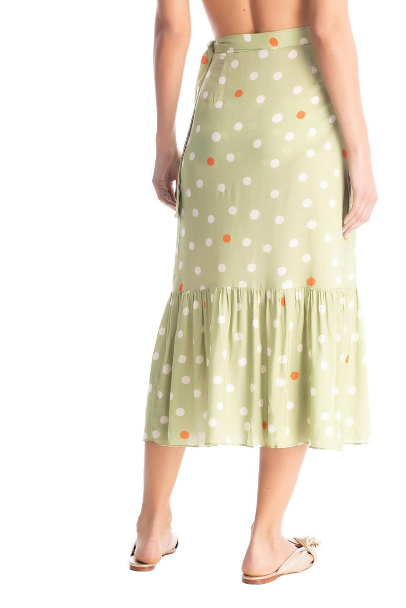 Timeless and practical this skirt is made of viscose- the wrap style ties at the waist and falls loosely