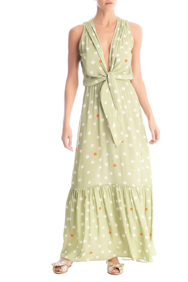Vintage Pois Sleeveless Long Dress With Knot