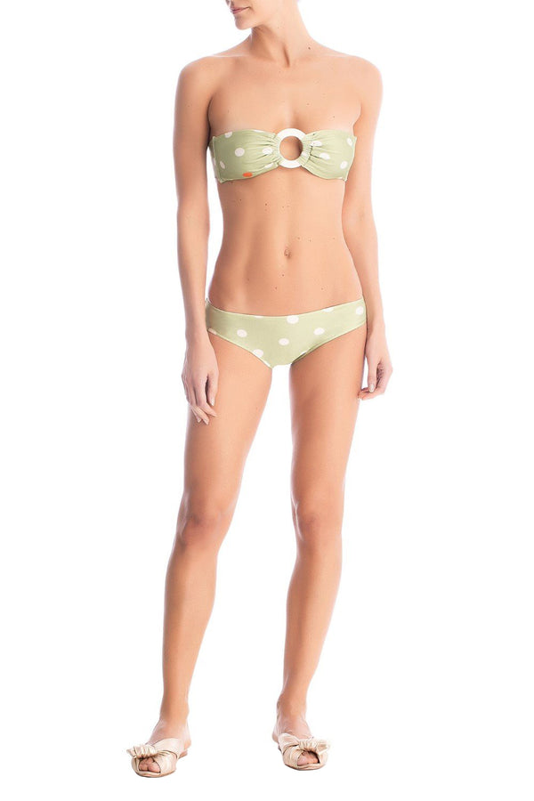 This elegant and vintage style bikini set comes with a bandeau top and low-cut briefs simply detailed with tortoiseshell acrylic buckles
