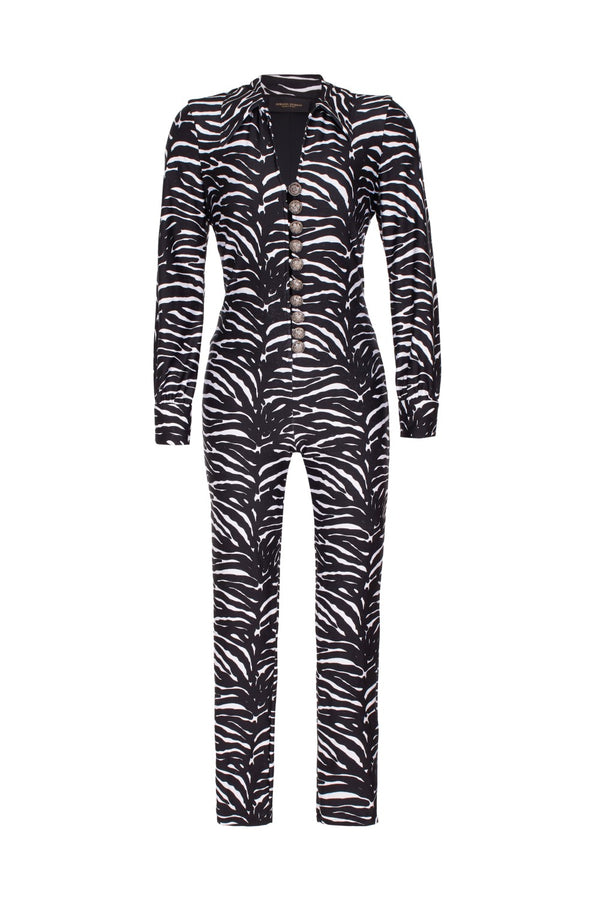 This stretch black and white zebra jumpsuit is part of Adriana Degreas´ new vintage style- contemporary pieces for remarkable women with a retro-twist