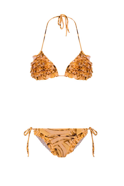 Muse Print Triangle Bikini With Ties and Ruffles