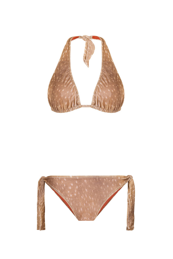 This long triangle velvet bikini is adjustable around the neck to help you find your perfect fit