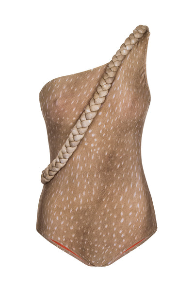 Horse Skin One-Shoulder Swimsuit with Braid Detail