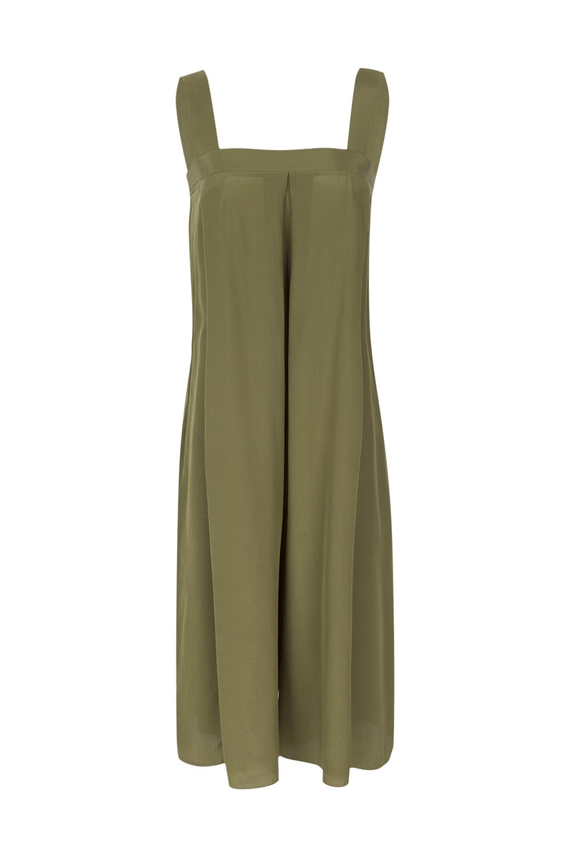 This square-neck jumpsuit is crafted from lightweight silk and has discreet side pockets and crop leg