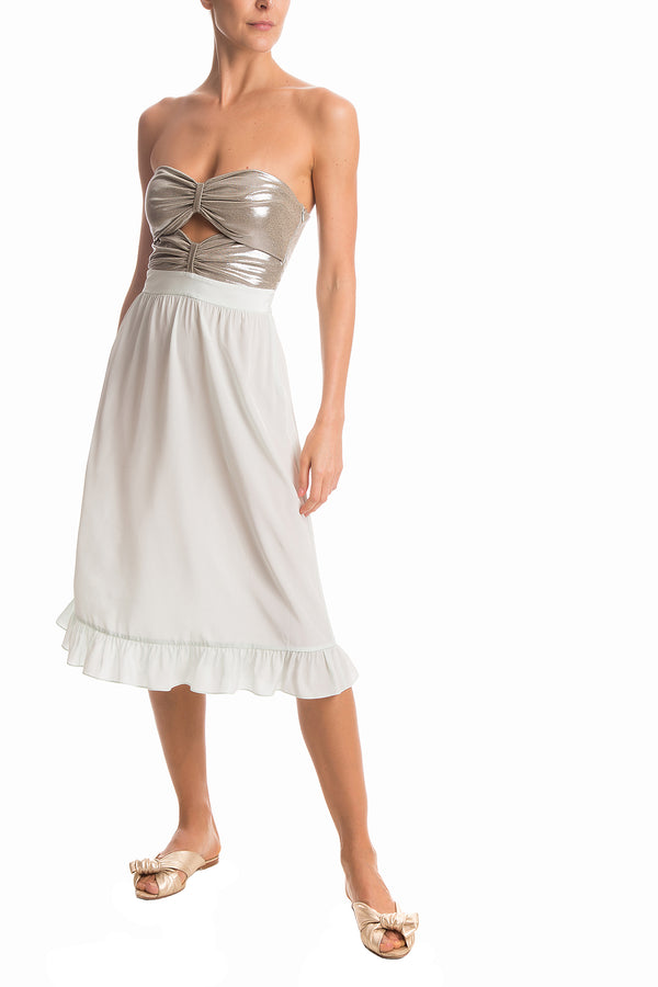 Metallic Strapless Midi Dress