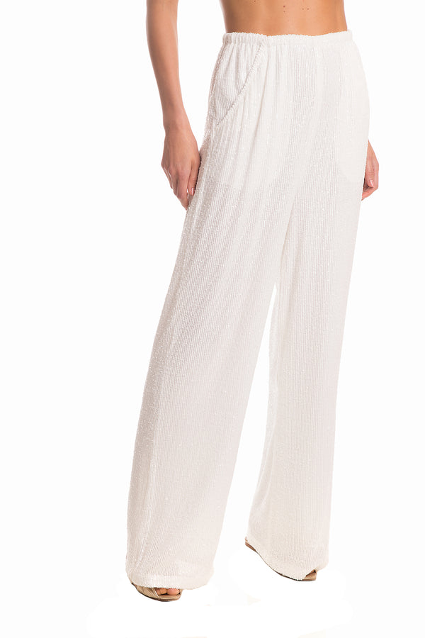Micro Sequins Wide-Leg Pants