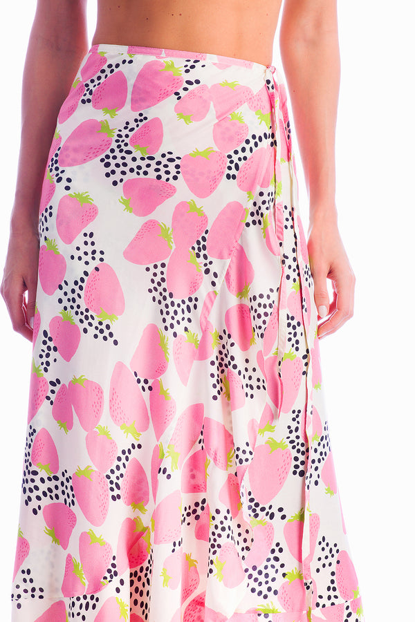 Strawberry Pareo Skirt has a relaxed silhouette and is perfect to be worn poolside and beyond
