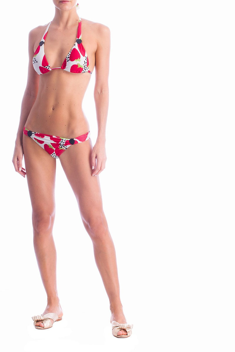 Long triangle bikini is crafted from smooth stretch fabric and comes with acrylic detail and self-tie halterneck straps