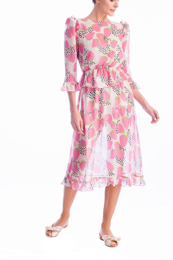 This dress is inspired from 1970's silhouettes and crafted with sheer fabric with metallic details