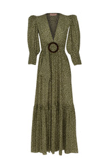 Mille Punti Long Dress with Voluminous Sleeves and Hoop