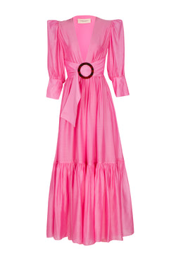 Vichy Solid Long Dress with Voluminous Sleeves and Hoop