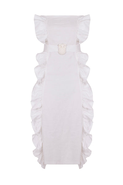 Midi Strapless Dress with Ruffles