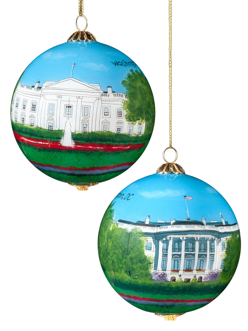 Large Glass White House Hand Painted Ornament