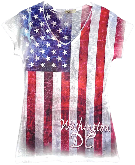 Ladies V-Neck Flag Sublimation T-Shirt