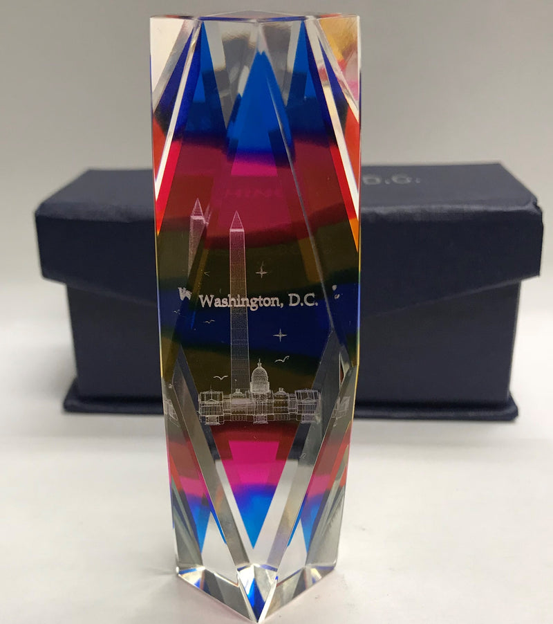 Washington DC Rainbow Crystal Paperweight | Washington Monument & US Capital Building