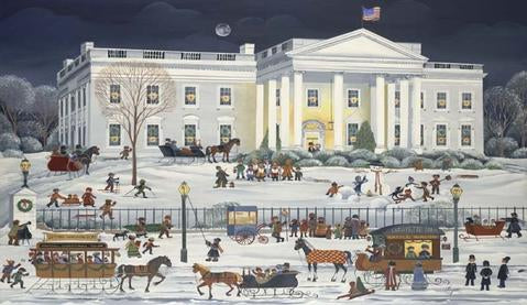 White House Under Moonlight Christmas Cards