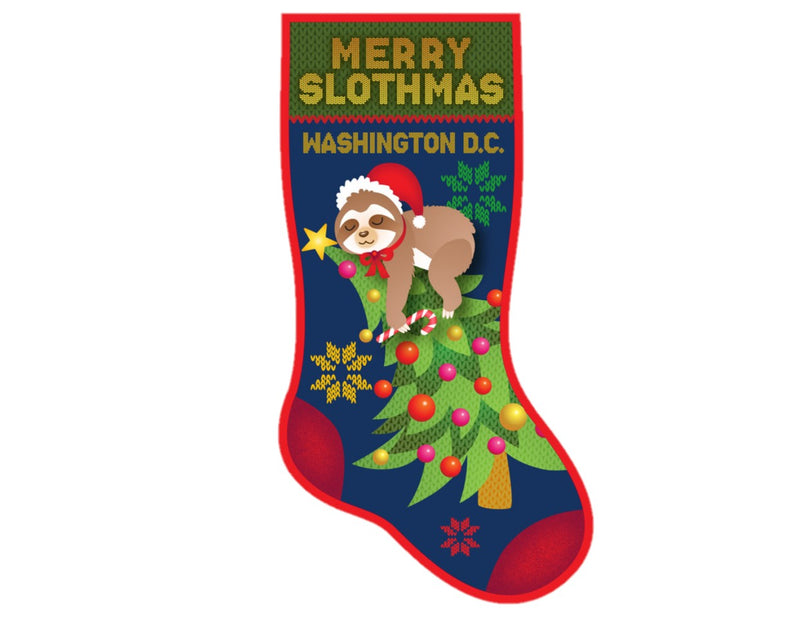 Merry Slothmas Christmas Stocking