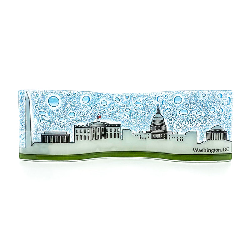 Plaque-White House And Washington Monument Wavy Glass