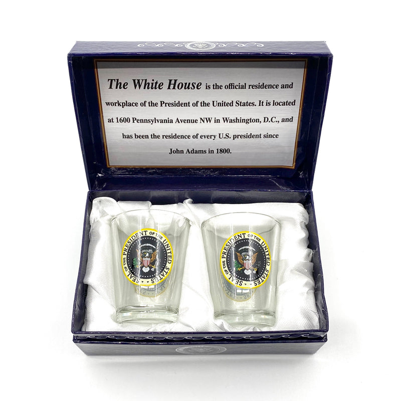 White House and Presidential Seal Shot Glass Set